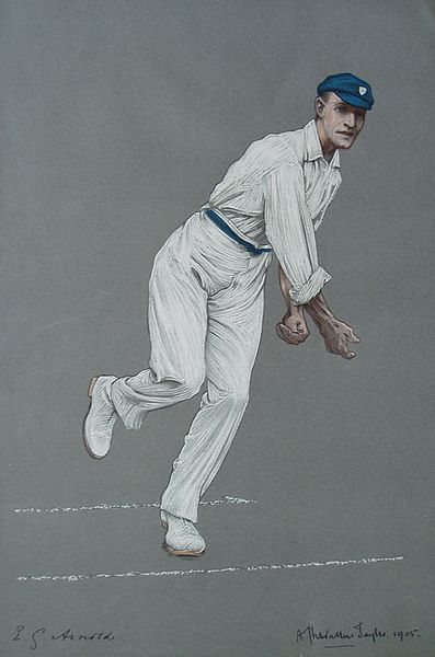 An original colour lithograph of Arnold bowling by A. Chevallier Tayler. From The Empire's Cricketers.