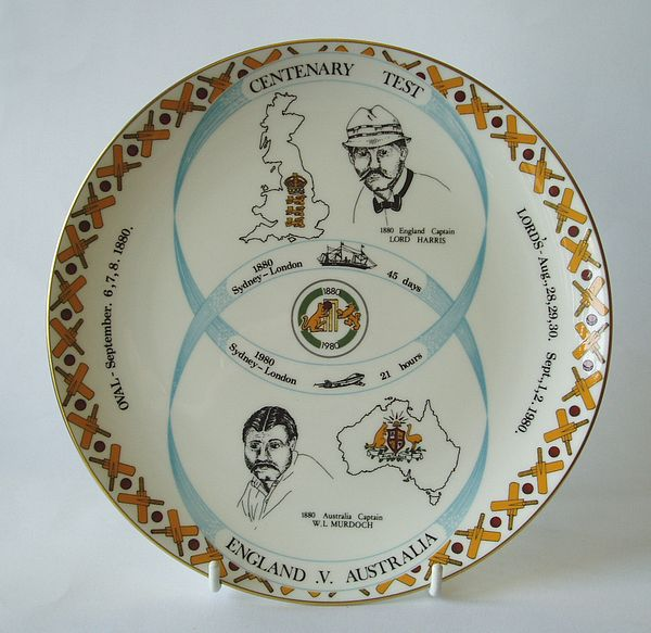 A Coalport china plate produced to commemorate the centenary of Test cricket in England, 1880-1980.