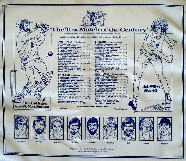 A cotton handkerchief issued to commemorate the Third Test match, played at Headingley, July 16th-21st, 1981. Comprising full scores of the match, and full-length caricatures by Roy Ullyett of Ian Botham and Bob Willis. With head and shoulder portraits of the other members of the England team along bottom margin.
