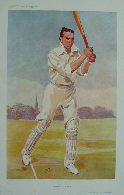 An original coloured lithograph caricature of Gillingham by Spy. From Vanity Fair. Captioned 'CRICKETING CHRISTIANITY'.