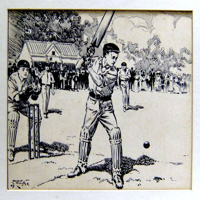 An original pen and black ink drawing of a cricket match in progress, showing the batsman about to strike the ball, with spectators and pavilion in background. Signed and dated by the artist.