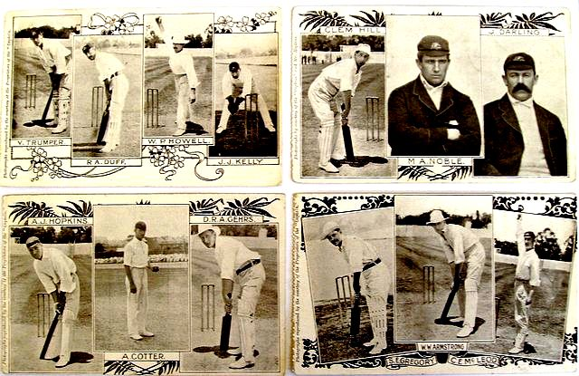 An original set of four original postcard photographs depicting thirteen members of the Australian team which toured England in 1905.
