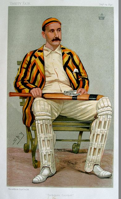 An original coloured lithograph caricature of Lord Hawke by Spy. From Vanity Fair. Captioned 'YORKSHIRE CRICKET'.