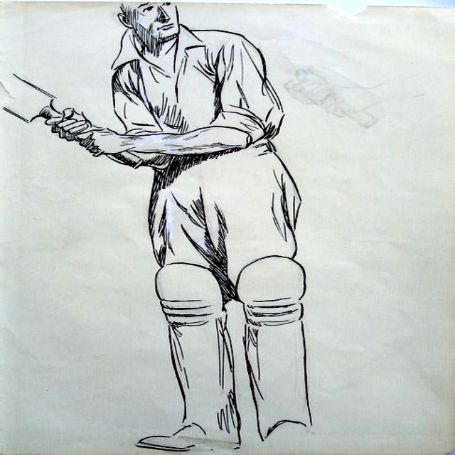 A full-length original pencil, and pen and ink sketch by James Thorpe, of a batsman in cricket whites and pads, holding a bat aloft. Unsigned.