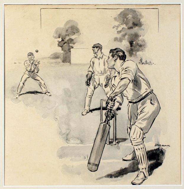 An original pen and ink drawing by Brock, finished in water colour wash, on brown paper, signed by the artist. Depicting a batsman in front of his stumps, looking behind as he is caught at slip, with the wicketkeeper watching on.
