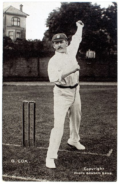 An original full length postcard photograph of George Cox bowling.