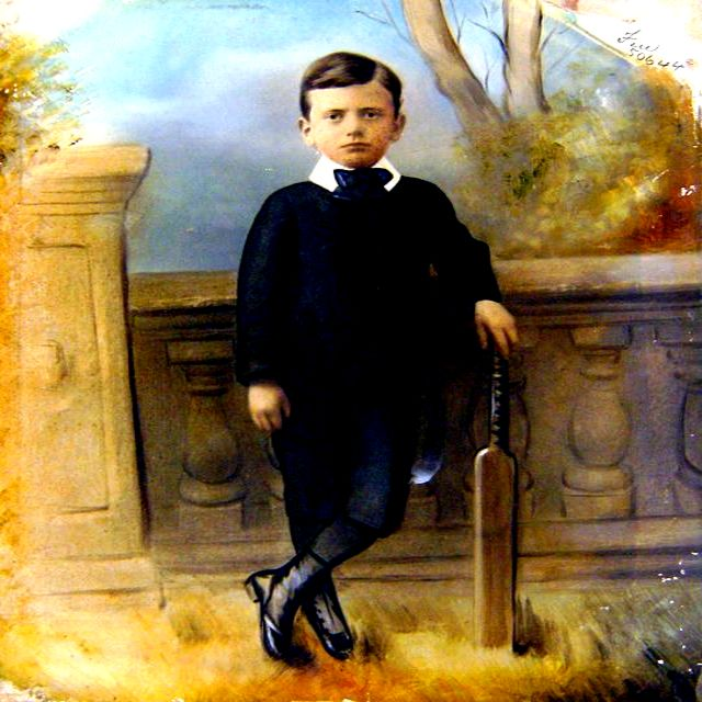 An original full-length portrait of a young boy, holding a cricket bat, apparently painted on a photographic base.