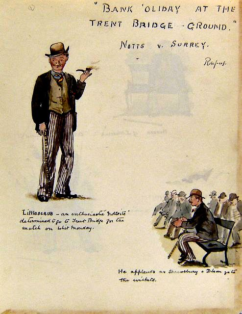 A series of eight charming original watercolour drawings, possibly by Tom Browne, depicting humorous scenes of the match and a spectator during the Nottingham v. Surrey match played at Trent Bridge, 10th-11th June 1889.