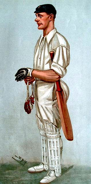 An original colour lithograph caricature of Jessop by Spy. From Vanity Fair. Captioned 'THE CROUCHER'.