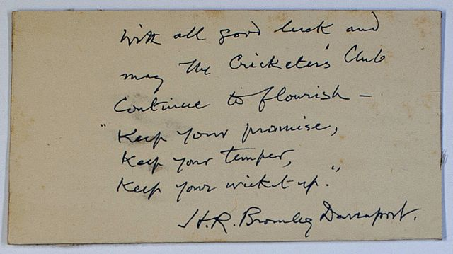 A piece of card signed and inscribed by Bromley-Davenport.