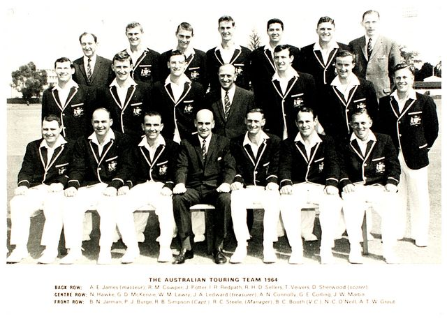 An original postcard-size photograph of the Australian team which toured England in 1964.